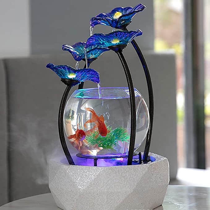 Amazon.com: DJLOOKK Aquarium Fish Tank Glass Gold Fish Tank Four Unique Creative Water Way Living Room Creative Small Water Ornaments Suitable for Tv ...