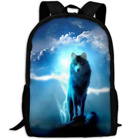 580e7f80d967 Amazon.com: LoveBea Adult Travel Hiking Laptop Backpack Blue Wolf ...