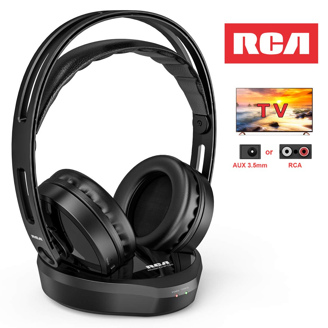 Wireless TV Headphones, RCA Over Ear Hi-Fi Stereo Headset for TV Watching PC VCD, Headphones with 2.4GHz RF Transmitter, Charging Dock for Seniors Hearing Impaired, 100ft Range, Rechargeable, Black by RCA