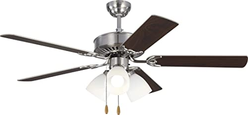 Monte Carlo 5HV52BSF Haven 52 Ceiling Fan with 3 LED Light and Pull Chain, 5 MDF Blades, Brushed Steel – 3 Light Kit