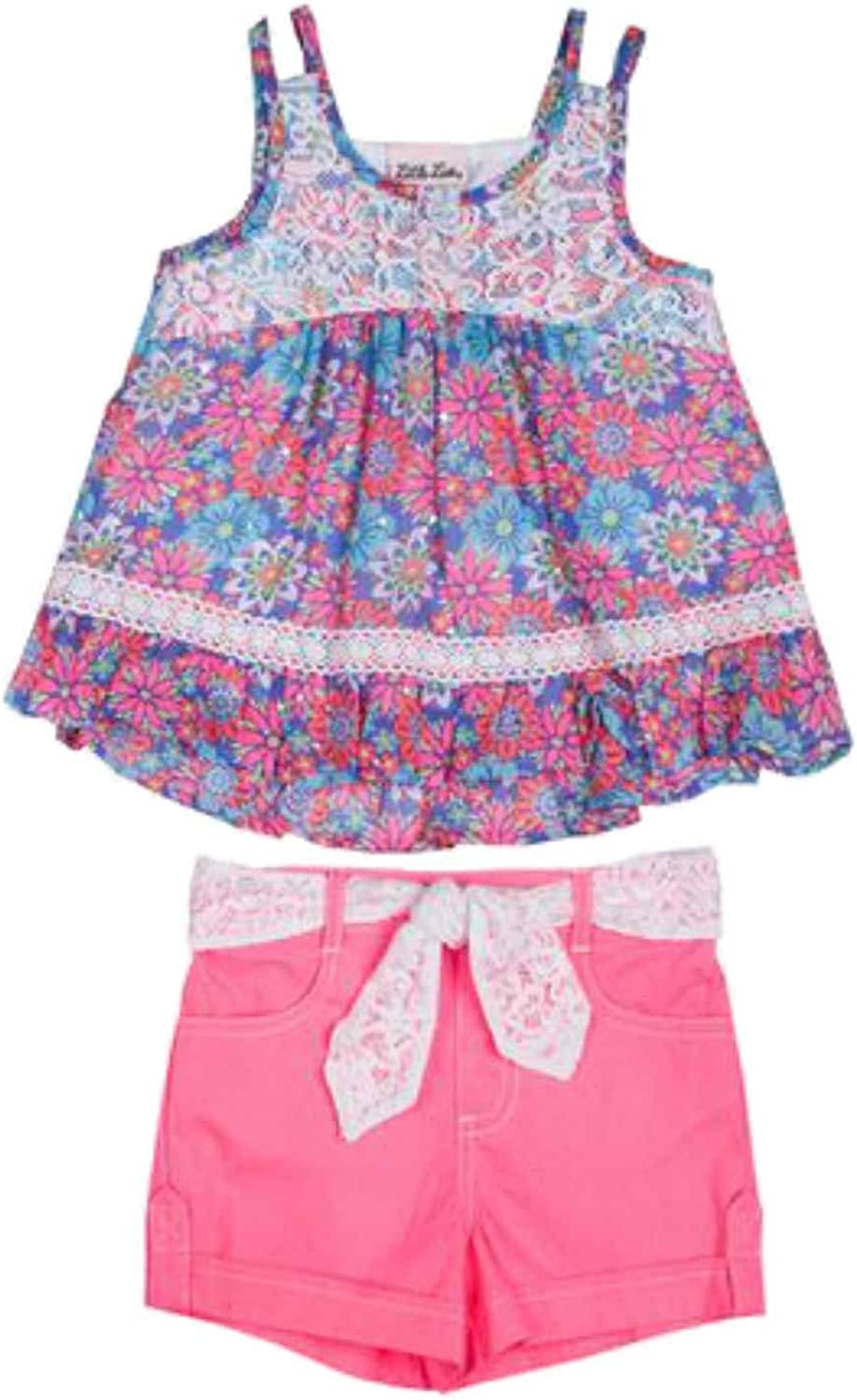 Infant Girls Purple Sparkle Floral Chiffon Top /& Hot Pink Shorts Outfit