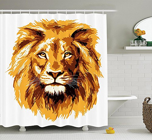 Safari Decor Collection Illustration of the Lion King Biggest Cat in Africa Icon Animal in Tropics Artwork Polyester Fabric Bathroom Shower Curtain Orange White