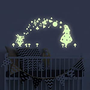 Alice in Wonderland Glow in The Dark Wall Stickers, BENBO Alice Stars PVC Vinyl Luminous Wall Decals DIY Wall Stickers for Home Decor Girls Nursery Room Decoration