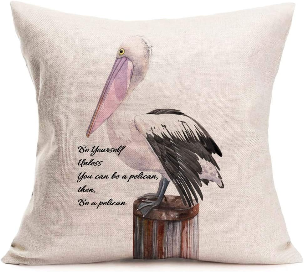 Asminifor Inspirational Words with Sea Pelican Bird Stand on A Wood Stake Throw Pillow Covers Cotton Linen Home Decor Pillow Case Cushion Cover for Sofa Couch 18