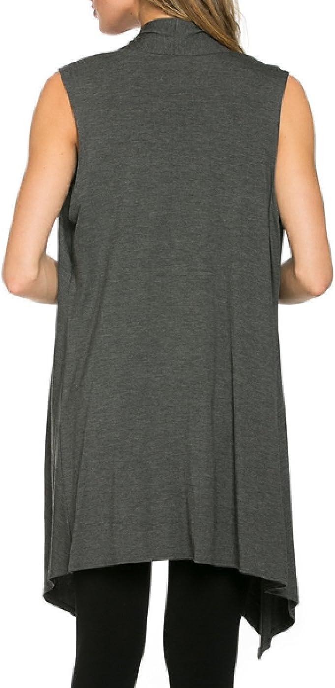 Kearia Sleeveless Asymetric Hem Knitting Batwing Open Front Cardigan Vest Jersey