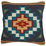 El Paso Designs Throw Pillow Covers 18 X 18- Hand Woven Wool in Southwest, Mexican, and Native American Styles- Hand Crafted Western Decorative Pillow Cases in Wool. (Navy)