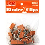 JAM PAPER Colorful Binder Clips - Small - 3/4 Inch (19 mm) - Orange Binderclips - 25/Pack