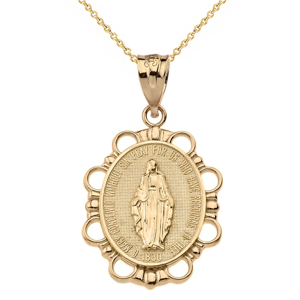 14k Yellow Gold Miraculous Medal Of Blessed Virgin Mary Pendant Necklace (Large), 20''