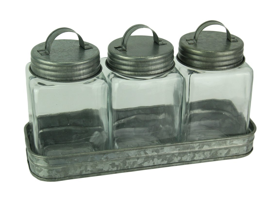 Audrey's Metal & Glass Canisters Rustic Farmhouse Metal Tray With 3 Lidded Glass Storage Canisters 11.5 X 6.75 X 4 Inches Silver