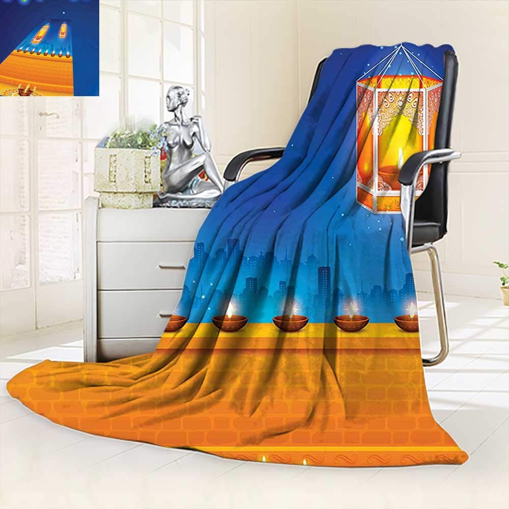 All-Season Super Soft Blanket Religious Celebration India Lights Candles Night Scenery Print Multicolored,Silky Soft,Anti-Static,2 Ply Thick Blanket. (62''x60'')