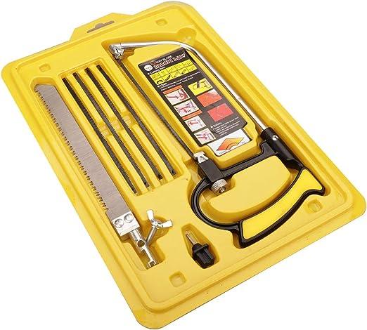Mini sierra de mano, sierra de arco de alta tensión de bastidor sólido, caja de herramientas