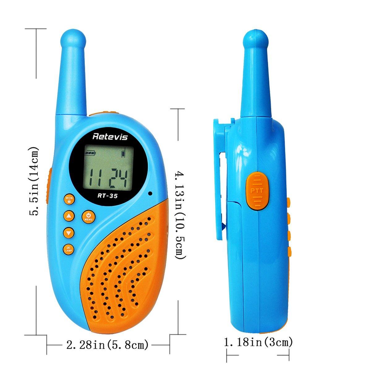 Retevis RT35 Kids Walkie Talkies USB License-Free Digital Alarm Clock 2 Way Radio(Blue, 4 Pack) by Retevis (Image #3)
