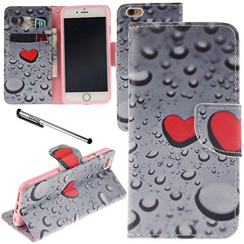 iPhone 6/iPhone 6S Schutzhülle, urvoix (TM) Ständer Leder Brieftasche Fall–Love Herz Wassertropfen Flip Cover für 11,9cm iPhone 6/6S (nicht für 6Plus)