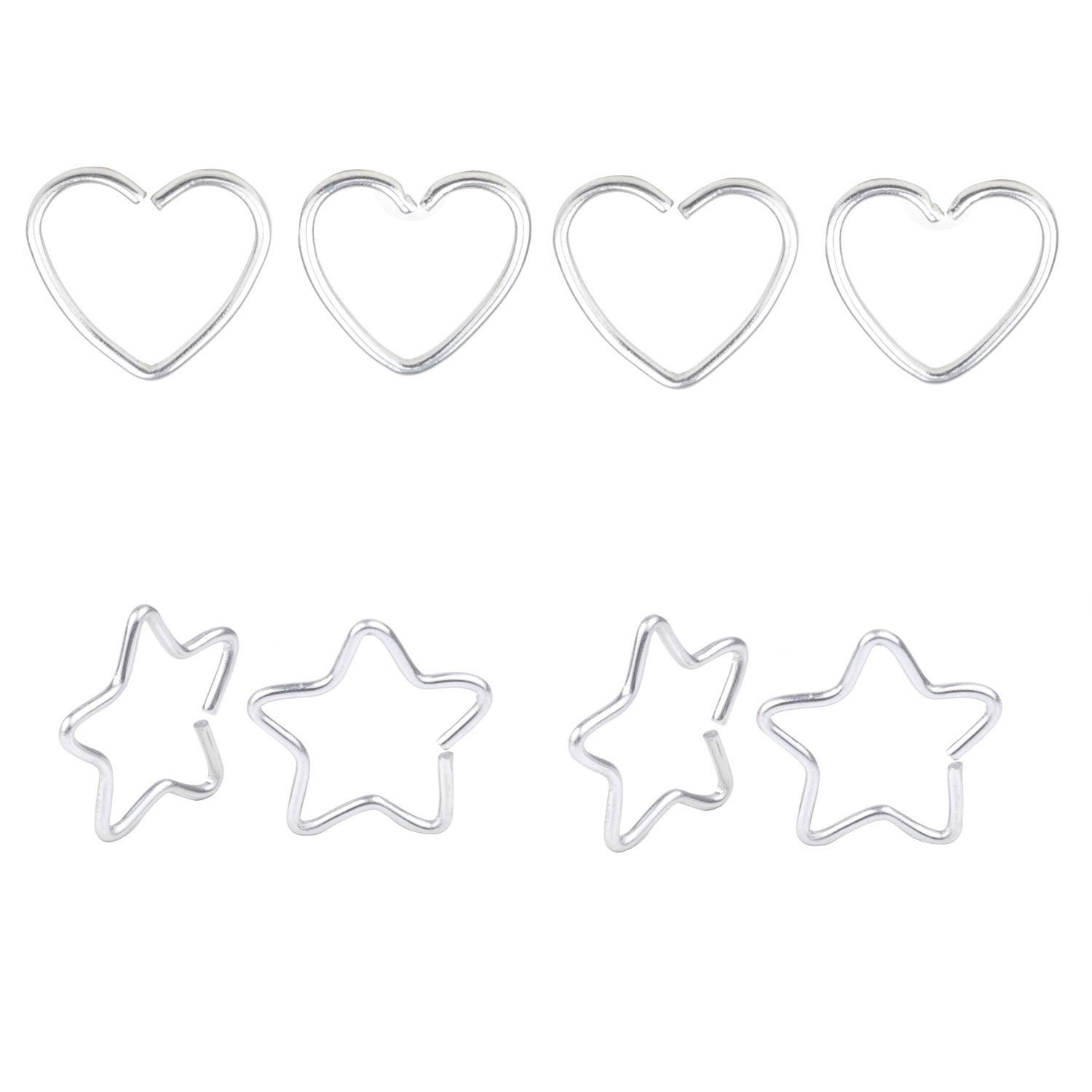 8pcs 20G Stainless Steel Tiny Niobium HeartStar Captive Ring Daith Ear Cartilage Earring Rook Tragus Helix Piercing Nose Ring Nose Hoop