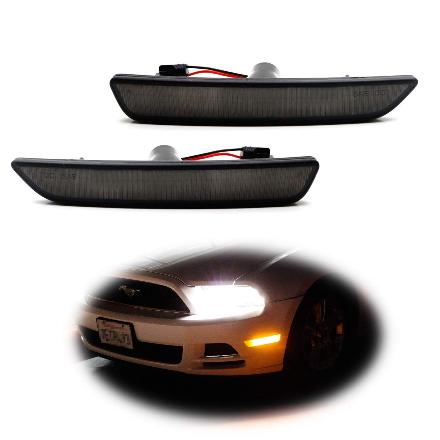 iJDMTOY Smoked Lens Red Full LED Rear Side Marker Light Kit For 2015-up Ford Mustang, Powered by 48-SMD LED, Replace OEM Back Sidemarker Lamps iJDMTOY Auto Accessories Change Left/Right Original Lamp Assembly