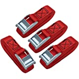 AmazonBasics 12-Feet Long Lashing Strap, Red, 4-Pack