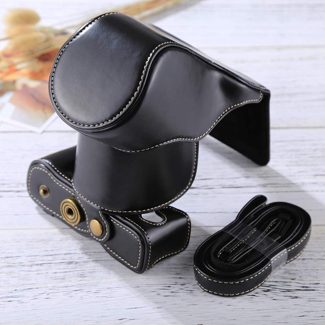 Black PULeather Strap YHM Full Body Camera PU Leather Case Bag with Strap for FUJIFILM X-A3 // X-A2// X-M1 // X-A10 16-50mm // 18-55mm // XF 35mm Lens Color : Black