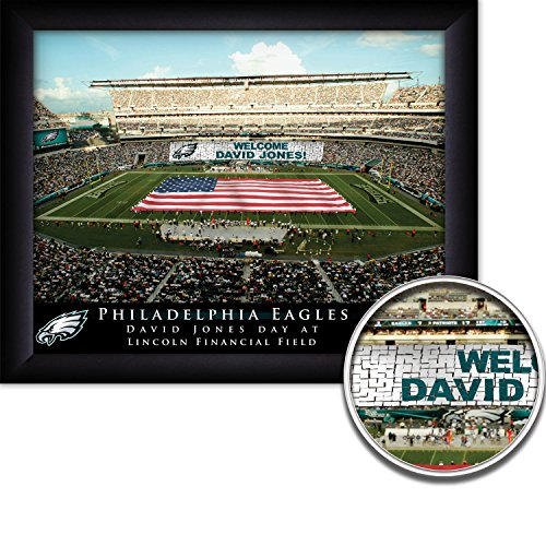 Nfl Personalized Picture (Philadelphia Eagles Personalized NFL Card Stunt Football Stadium with American Flag Framed Art Print 13x16 Inches)