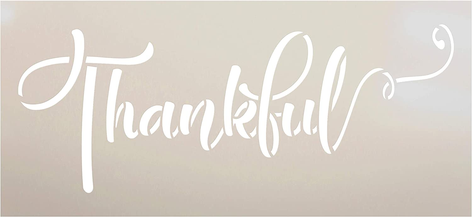 "Thankful Fall Stencil by StudioR12 | Wood Sign | Reusable Mylar Template | Holiday Seasonal Display Wall Decor | Multi Layering Art Project | Journal Art Deco | DIY Home - Choose Size (15"" x 7"")"