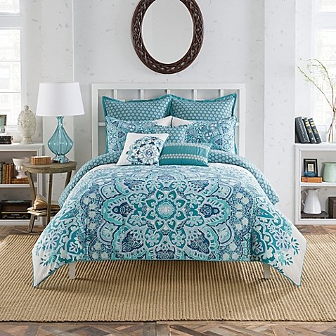 (Anthology European Pillow Sham from the Kaya Bedding Collection in Blue)