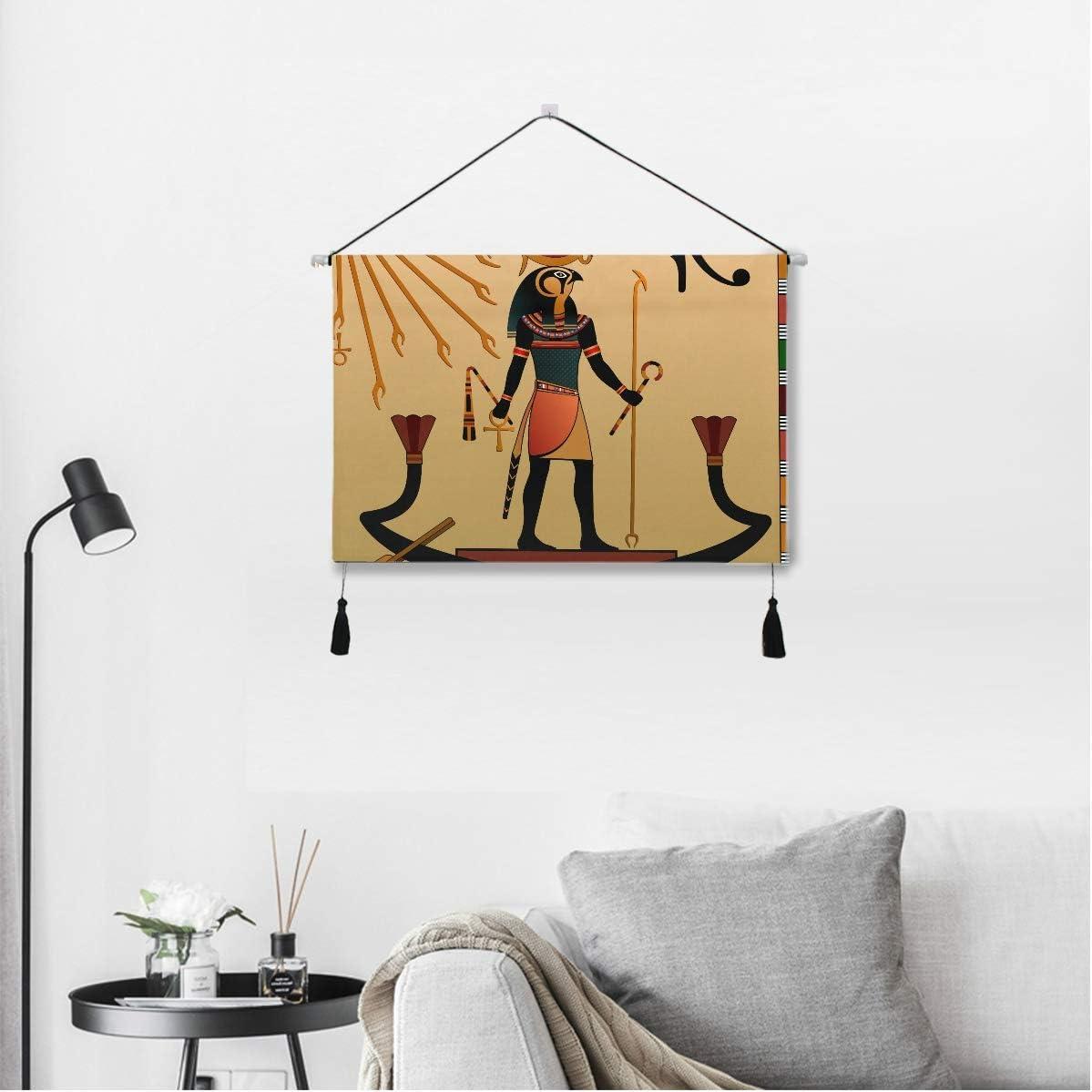 QiyI Room Decor Wall Art Ancient Ethnic Tribal Culture Egypt Totem Art African Anubis Sun God Wall Decor 17.5 X 24.5 Inches / 45cm X 62cm Wall Art for Apartment Dorm Room Backdrop Home Decor
