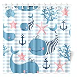 InterestPrint Cute Whales for Children and Kids Shower Curtain, Whale Shark Seahorse Sea Creatures Rope and Anchor Octopus Coral Crab Marine Lighthouse Ocean Nautical Coastal Theme, 72 X 72 Inches