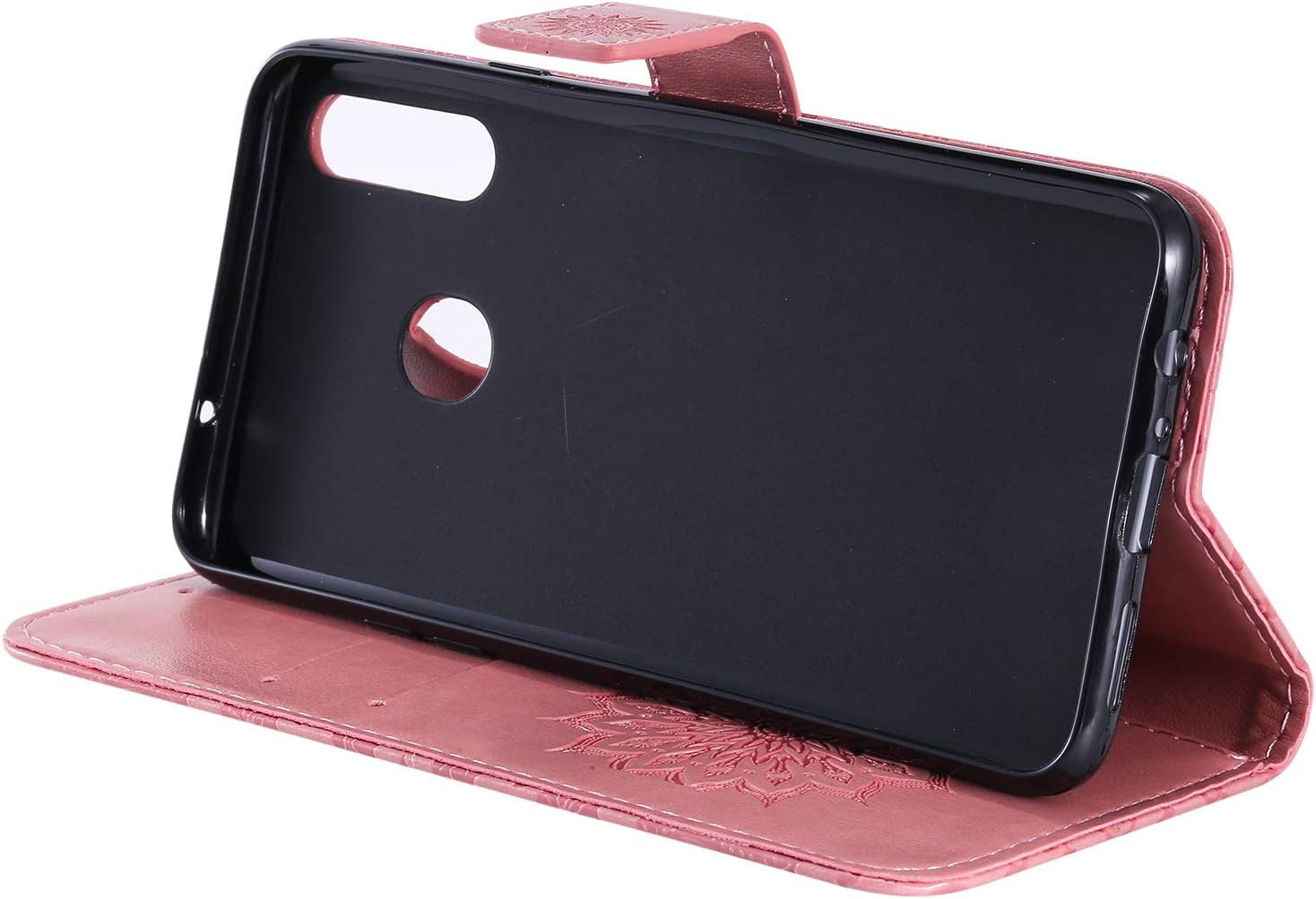 Shockproof Leather Flip Cover Case for Samsung Galaxy A20S NEXCURIO Wallet Case for Galaxy A20S with Card Holder Side Pocket Kickstand NEKTU020528 Rose Gold