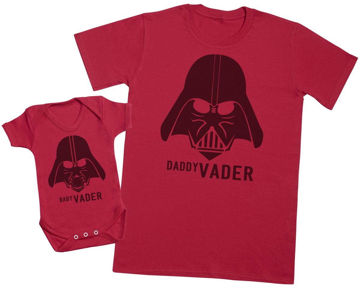 Baby Vader & Daddy Vader - Matching Father Baby Gift Set - Mens T Shirt & Baby Bodysuit
