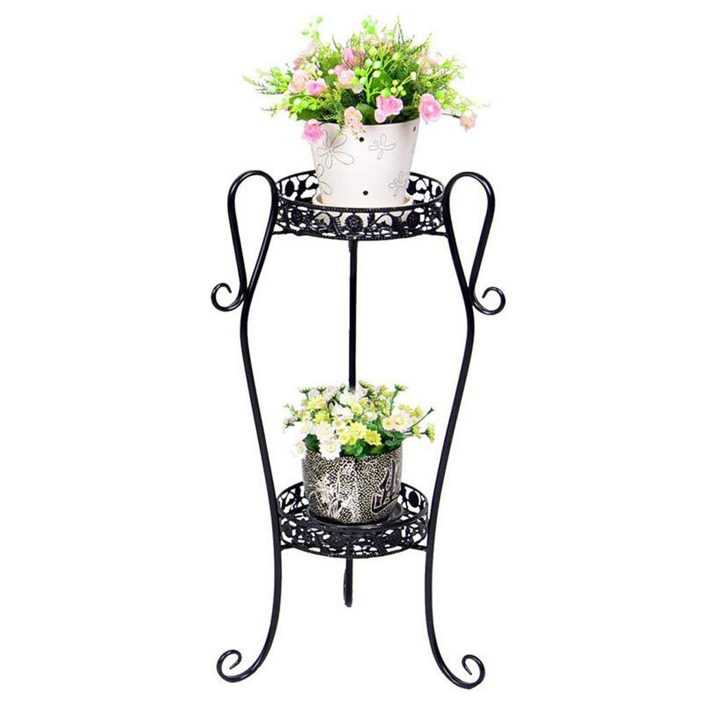 Black Large Gifts & Decor Plant Stand Shelf Flower Racks Iron Art Multi-Layer Flower Stand Balcony Living Room with Flower Pot Rack Indoor Shelf Three-Dimensional Flower Stand (color   Yellow, Size   Large)