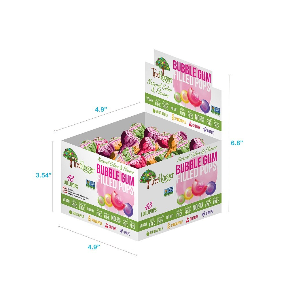 Tree Hugger Bubble Gum Lollipops Display Box, Great For Big Fun, 48 Count by Tree Hugger