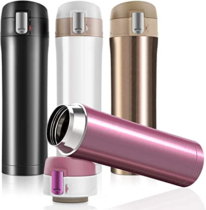 Travel Vacuum Insulated Coffee Mug Cup Bottle Thermal Stainless Steel Flask UK