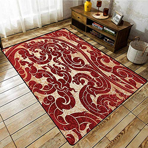 - Non-Slip Rug,Antique Thai Culture Vector Abstract Background Flower Pattern Wallpaper Design Artwork Print,Large Area mat,5'6