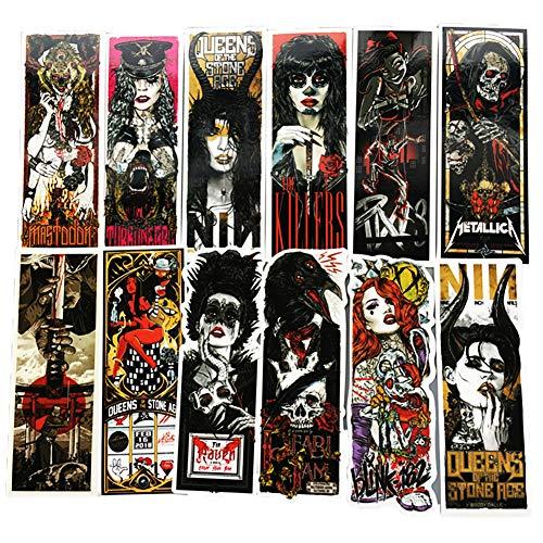 Price comparison product image Honch Vinyl Horror Gothic Metal Bands Stickers 50 Pcs Pack Fan Art Decals for Laptop Ipad Car Suitcase Water Bottle Helmet
