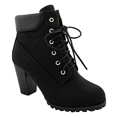 Women's Lace Up Fashion Collar Chunky Heel Ankle Bootie Trends Shoes