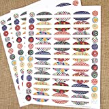 81 Kaleidoscope Oval Poly Weatherproof Essential Oil Bottle Labels Plus 81 Round Cap Stickers by Rivertree Life