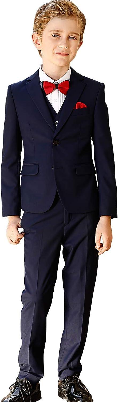 Navy Blue Suit for Wedding Suits Set ELPA ELPA Boys Suits Slim Fit Formal Dress Suit 6 Piece Teen Black Suit