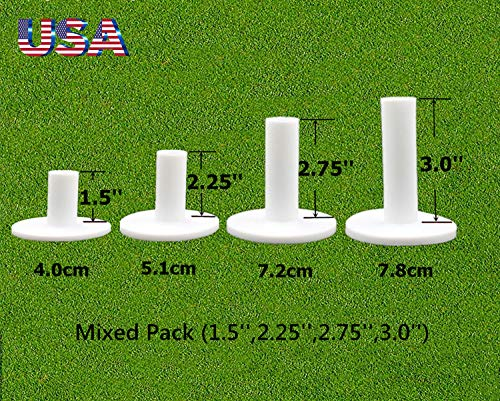 FINGER TEN Golf Rubber Tees Driving Range Value 4 Pack, Mixed Size 1.5'' 2.25'' 2.75'' 3'' for Practice Mat (Mixed -