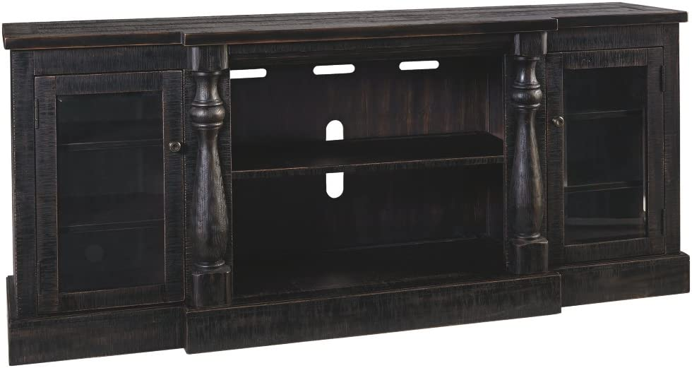 Signature Design by Ashley Mallacar Extra Large TV Stand with Fireplace Option Black