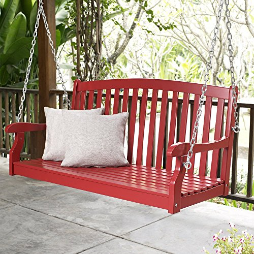 Porch Swing Patio Premium Swings Outdoor Wooden 2 Person Bench Furniture in 4 Ft Hanging Modern Red All Weather (4' Classic Wooden Bench)