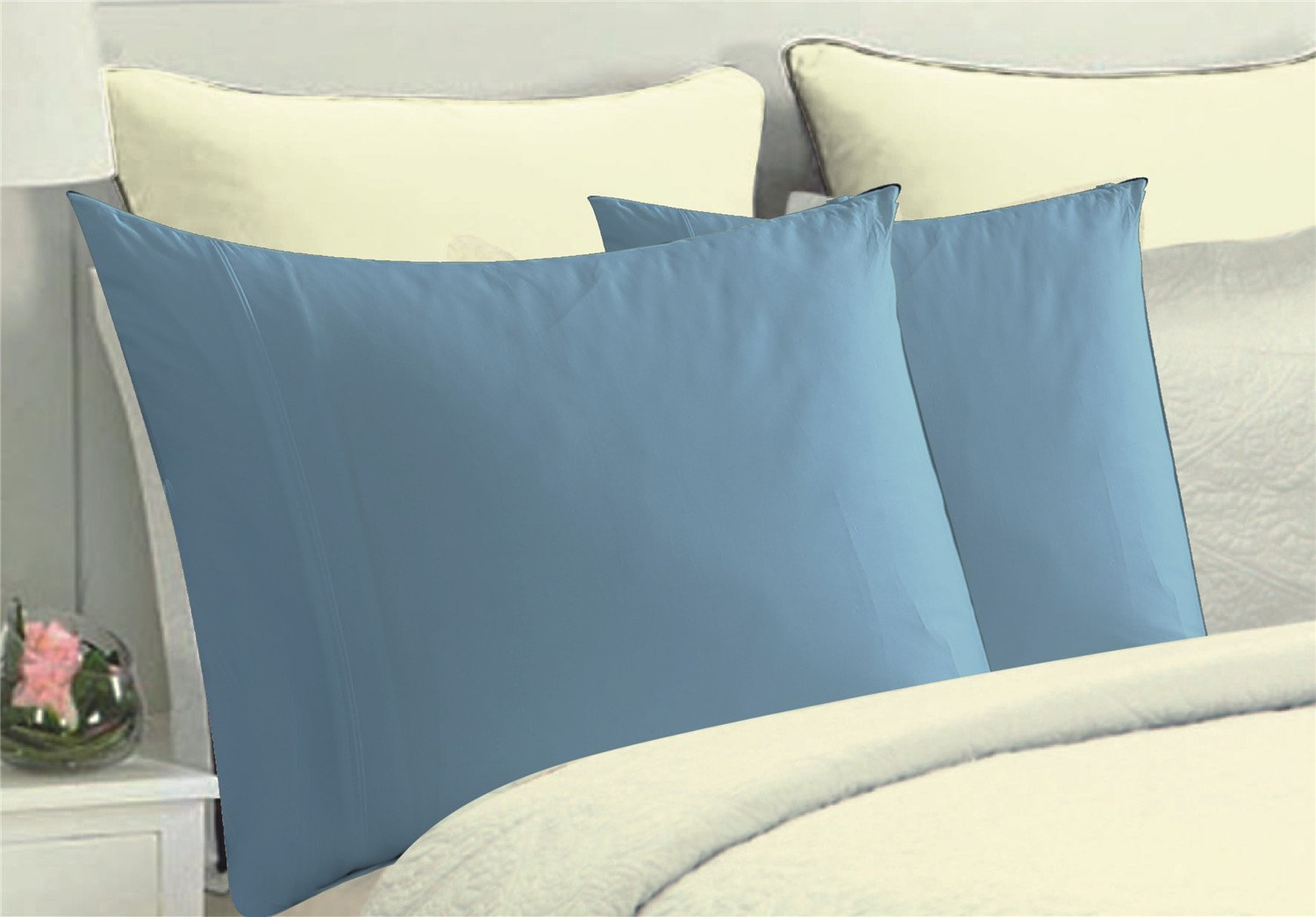 MarCielo Pillow Cases, 2 Piece Pillow Covers Standard Size Queen Size, 100% Brushed Microfiber Pillowcase Protector, Ultra Soft Wrinkle Free Stain Resistant, Light Blue, Queen