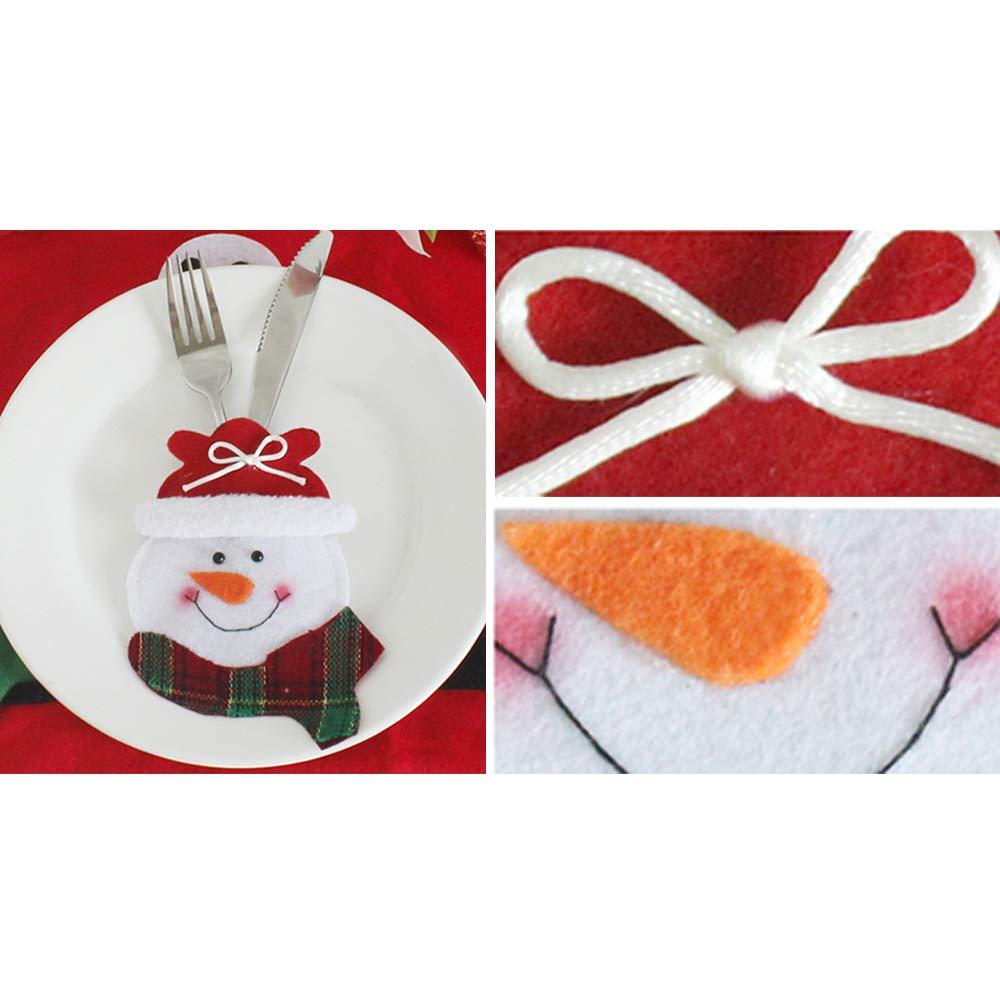 Tenrany Home Navidad Bolsillos para Cubiertos, 6 Pcs Bolsa de Cuchillo Cuchara Tenedor Papa Noel Renos Muñeco de Nieve Vajilla Juego de Cena Decoración de ...
