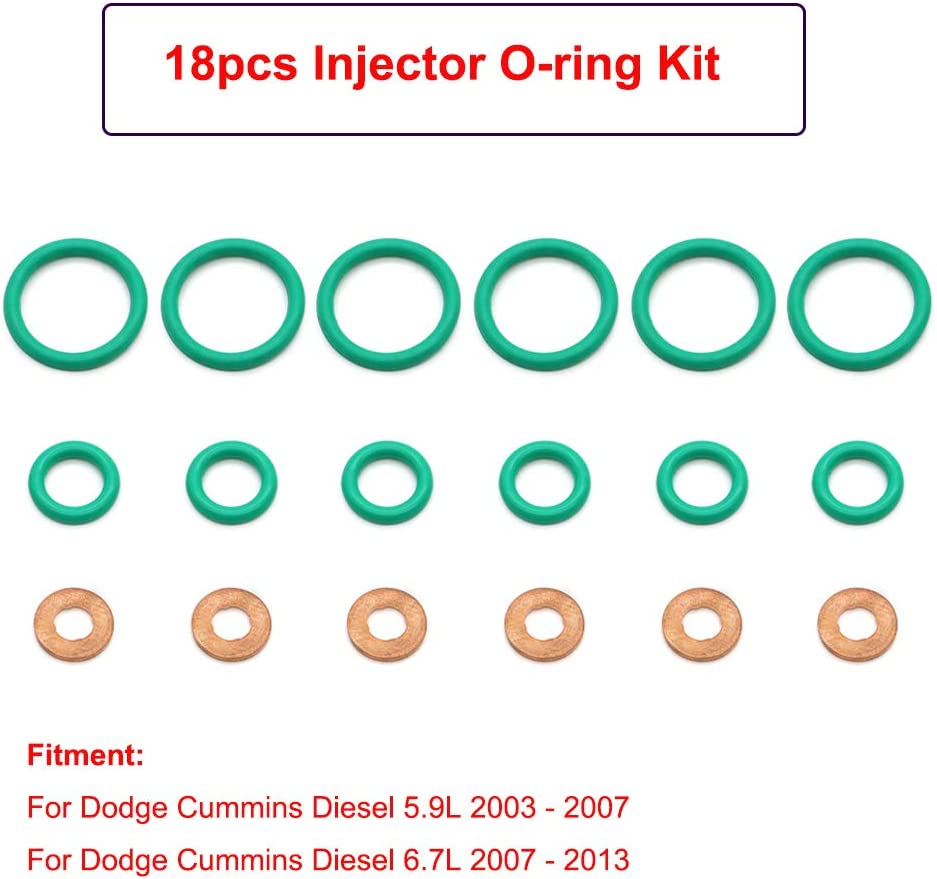 Cosmoska Injector O-ring Seal Kit For Dodge Cummins Diesel 5.9L 2003-2007 6.7L 2007-2013 Injector Installation Kit 18pcs