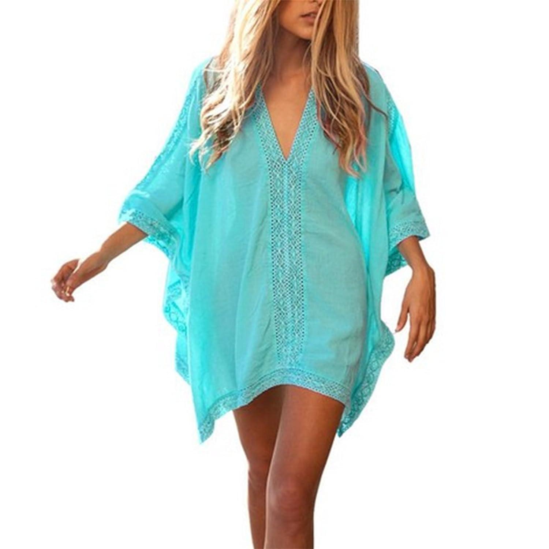 JWBBU Damen Sommerkleider Strandkleid große größen V-Ausschnitt Lose Beachwear Bikini Cover Up One-Size Minikleider Oberteile Bluse