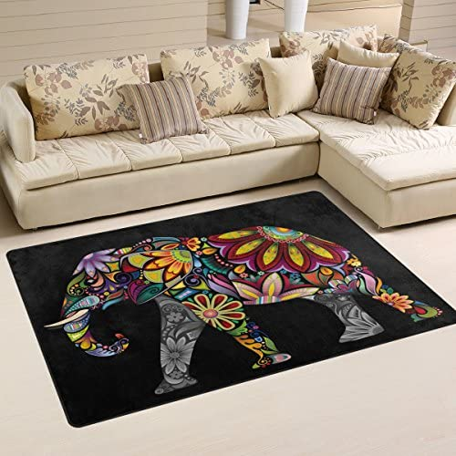 ALAZA Indian Elephant Mandala Black Area Rug Rugs Non-Slip Floor Mat Doormat