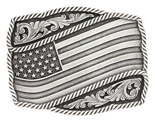 Montana Silversmiths Unisex Silver Waving American Flag Belt Buckle Silver One (Montana Silversmiths Belt)