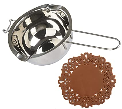 Cazo para derretir Tspkey de acero inoxidable 18/8, doble boquilla, mango resistente al calor, base plana, para derretir mantequilla, chocolate, ...