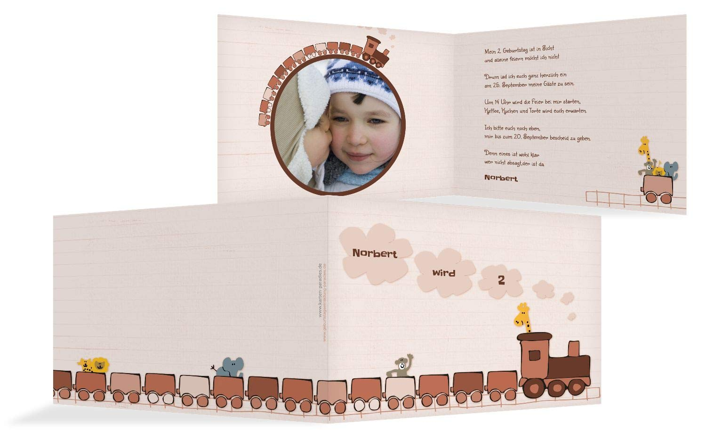 Einladung Foto Zoozug, 20 Karten, LilaFlieder B07L14BDWC | Schönes Schönes Schönes Aussehen  | Konzentrieren Sie sich auf das Babyleben  | Ausgezeichnete Leistung  ea033d
