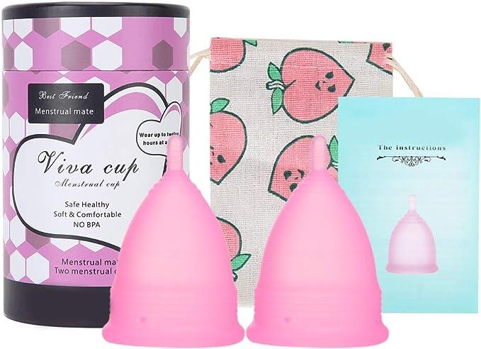 Copa menstrual de silicona reutilizable, juego de copa ...