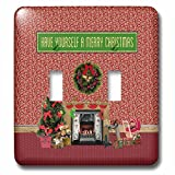 3dRose Beverly Turner Christmas Design - Christmas Room, Fireplace, Tree, Toys, Have Yourself a Merry Christmas - Light Switch Covers - double toggle switch (lsp_267908_2)