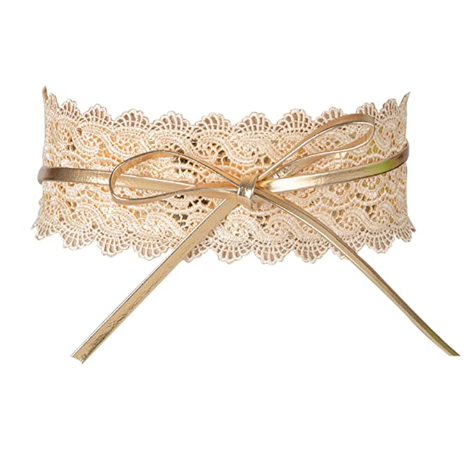 Cinturón Ancho Obi Ajustable para Mujer para Vestidos de Fiesta Boda (Dorado)